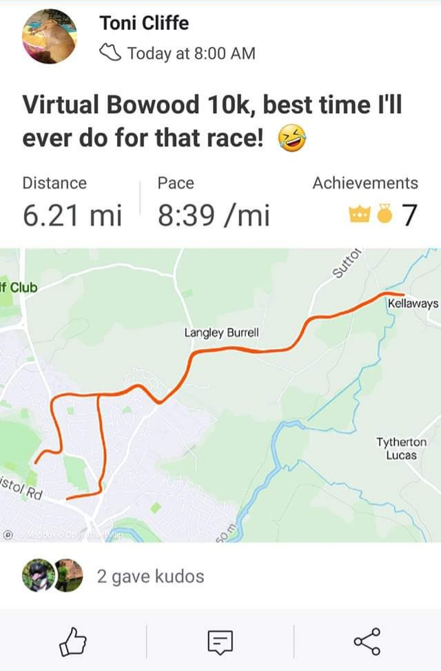 Virtual Bowood 10K Race Report by ToniCliffe